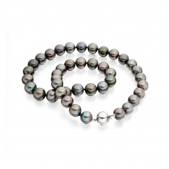 Black Tahitian Pearl Necklace with White Gold-TNBRWG1019-2