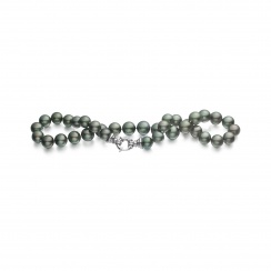 Grey Tahitian Pearl Necklace with 18ct White Gold Ring Clasp-TNGRWG0006-1