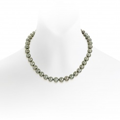 Grey Tahitian Pearl Necklace with 18ct White Gold Ball Clasp-TNGRWG0086-1