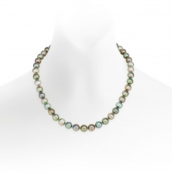 Multi-coloured Tahitian Pearl Necklace with White Gold-TNMRWG1020-1