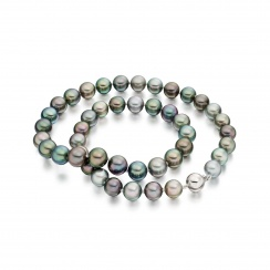 Multi-coloured Tahitian Pearl Necklace with White Gold-TNMRWG1020-2