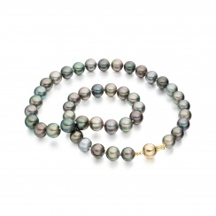 Multi-coloured Tahitian Pearl Necklace with Yellow Gold-TNMRYG1021-2