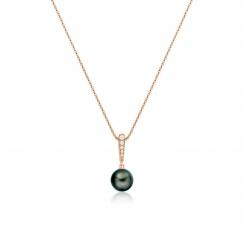 Mythologie Dark Dewdrop Tahitian Pearl Pendant in Rose Gold-TPVARRG1287-2