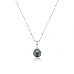 Black Tahitian Pearl and Diamond Pendant with 18ct Gold Chain-TPVAR00550058-2
