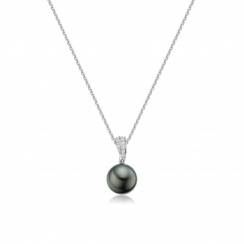 Tahitian Black Pearl and Pave Diamond Pendant with 18ct Gold Chain-TPBRWG0091-2
