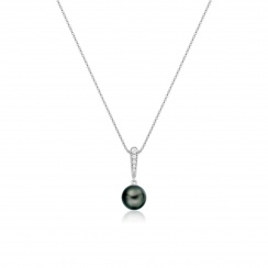 Mythologie Dark Dewdrop Tahitian Pearl Pendant in White Gold-TPVARWG1285-2