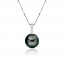 Mythologie Tahitian Pearl and Diamond Pendant in White Gold-TPVARWG1291-2