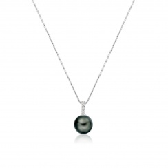 Mythologie Tahitian Pearl and Diamond Pendant in White Gold-TPVARWG1291-3