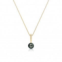 Mythologie Dark Dewdrop Tahitian Pearl Pendant in Yellow Gold-TPVARYG1286-2