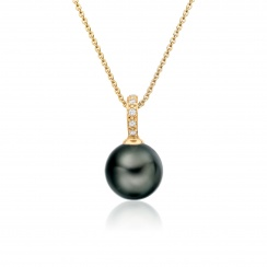 Mythologie Tahitian Pearl and Diamond Pendant in Yellow Gold-TPVARYG1292-2
