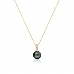 Mythologie Tahitian Pearl and Diamond Pendant in Yellow Gold-TPVARYG1292-3