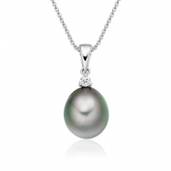 Grey Tahitian Drop Pearl and Diamond Pendant with 18ct White Gold - TPGDWG0622-1