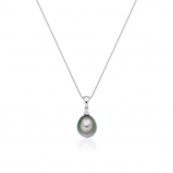 Grey Tahitian Drop Pearl and Diamond Pendant with 18ct White Gold - TPGDWG0622-2