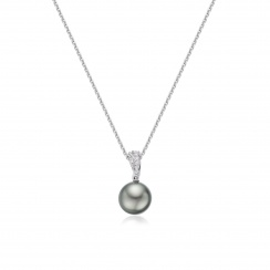 Tahitian Grey Pearl and Pave Diamond Pendant with 18ct Gold Chain-TPGRWG0090-2