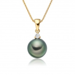 Peacock Green Tahitian Pearl and Diamond Pendant-TPPRYG0253-1