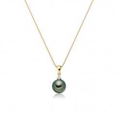 Peacock Green Tahitian Pearl and Diamond Pendant-TPPRYG0253-2