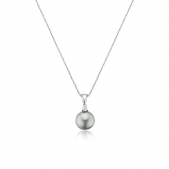 Silver Tahitian Pearl and Diamond Pendant with 18ct Gold Chain-TPVAR00570060-2