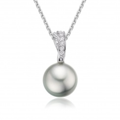 Tahitian Silver Pearl and Pave Diamond Pendant with 18ct Gold Chain-TPSRWG0089-1