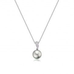 Tahitian Silver Pearl and Pave Diamond Pendant with 18ct Gold Chain-TPSRWG0089-2