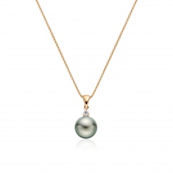 Green Grey Tahitian Pearl and Diamond Pendant in Rose Gold-TPVARRG1205-2