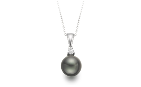 Black Tahitian Pearl and Diamond Pendant