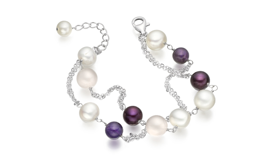 Freshwater Pearl, Agate and Amethyst Bracelet
