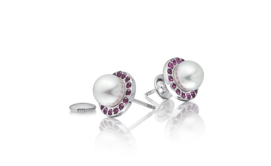 Ruby and Akoya Pearl Stud Earrings