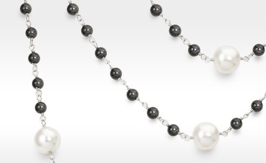 Classic White Pearls and Black Onyx
