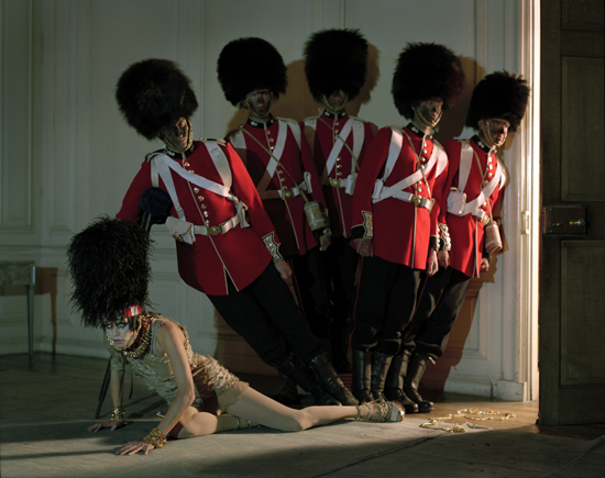 Malgosia Bela & five guardsmen, Glemham Hall, Suffolk, 2009
