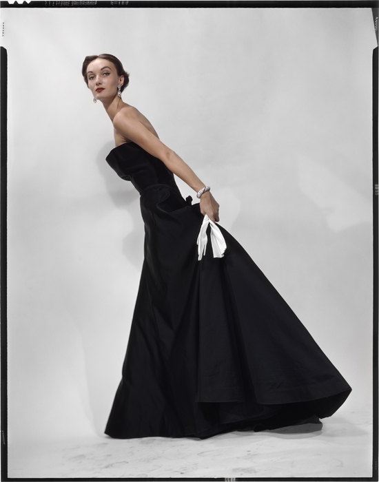 Evelyn Tripp in a Dior Sargent Dress - variant of photo that appeared in American Vogue Nov 1949