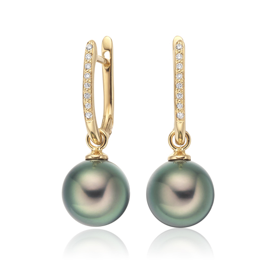 Yellow Gold Diamond Leverback And Peacock Tahitian Pearl Earrings