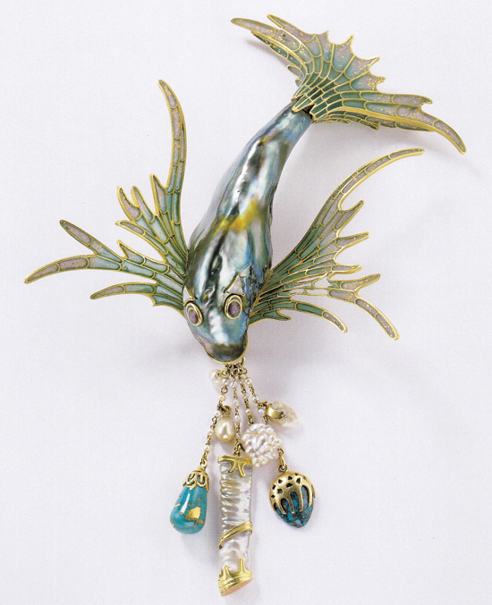 odice ornament, gold with enamel, turquoise, abalone pearl and mother-of-pearl