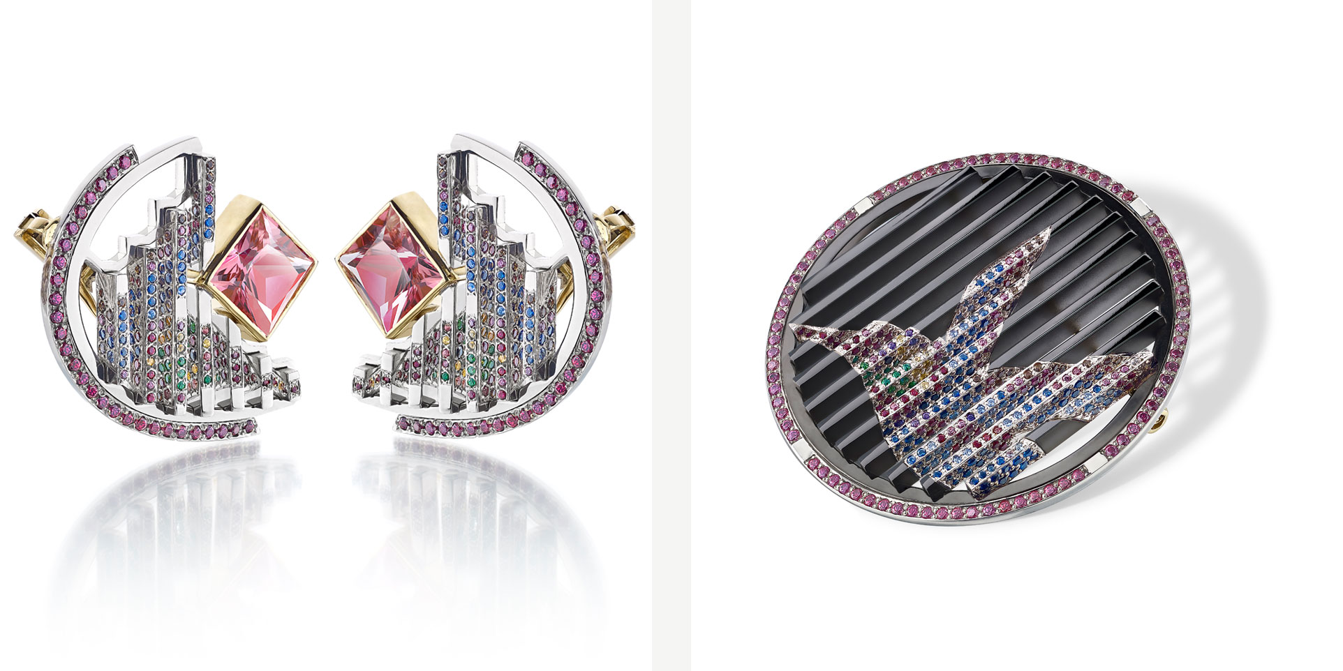 Vicky Lew Thalurania Colombica Earrings and Brooch