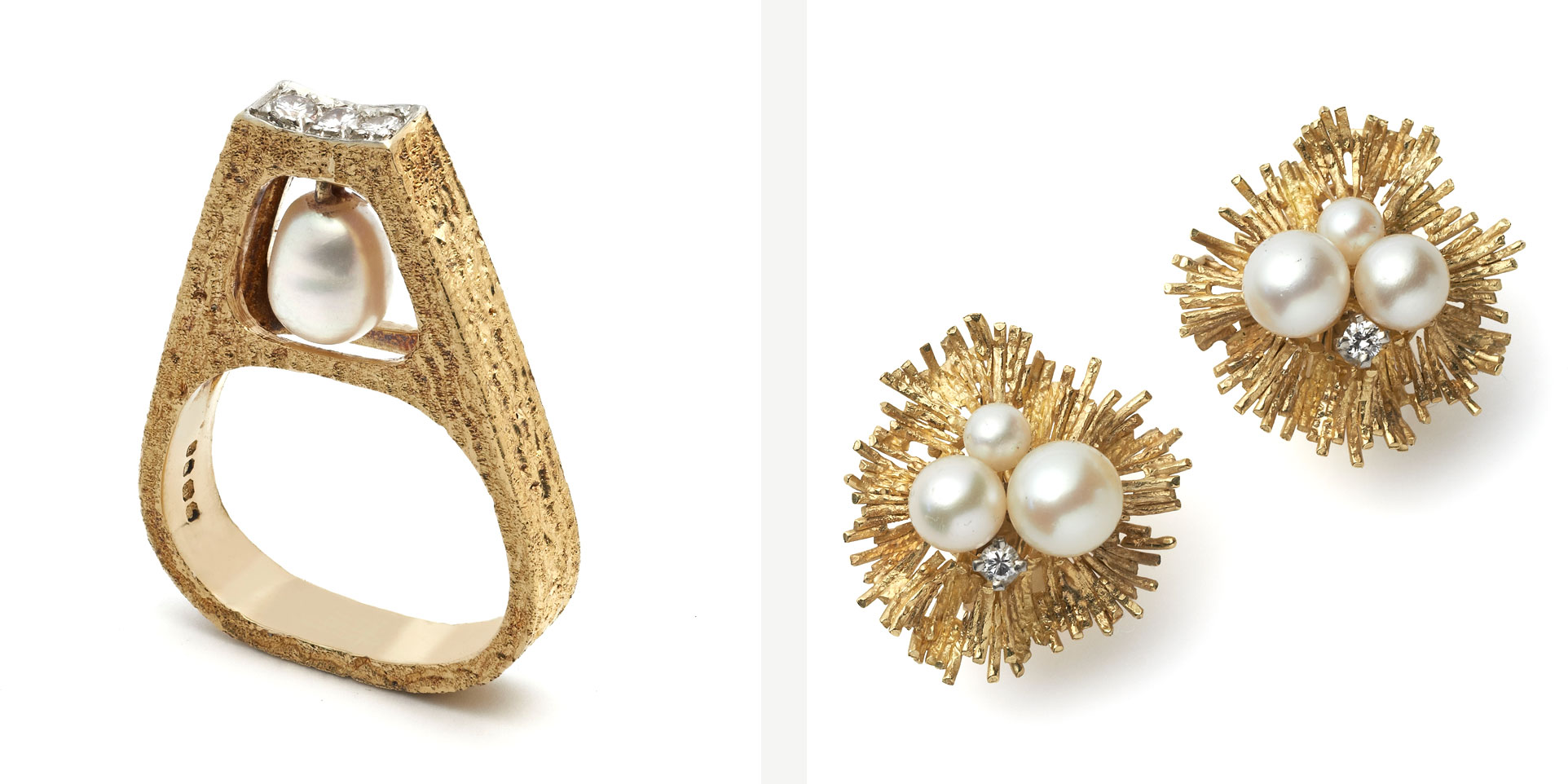 Andrew Grima Pearl Ring and Earclips