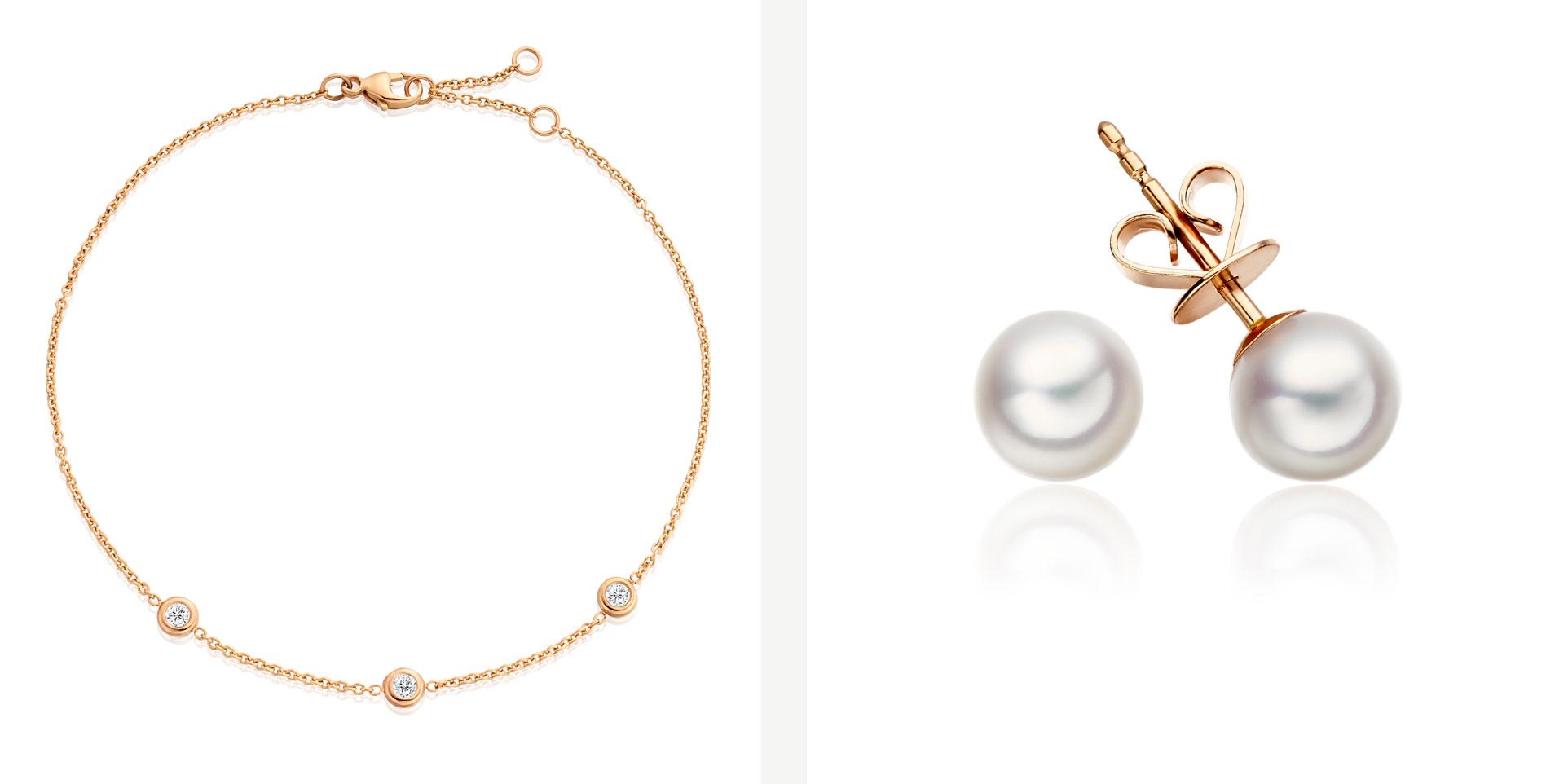 Diamond Bracelet and Akoya Pearl Earrings in Rose Gold