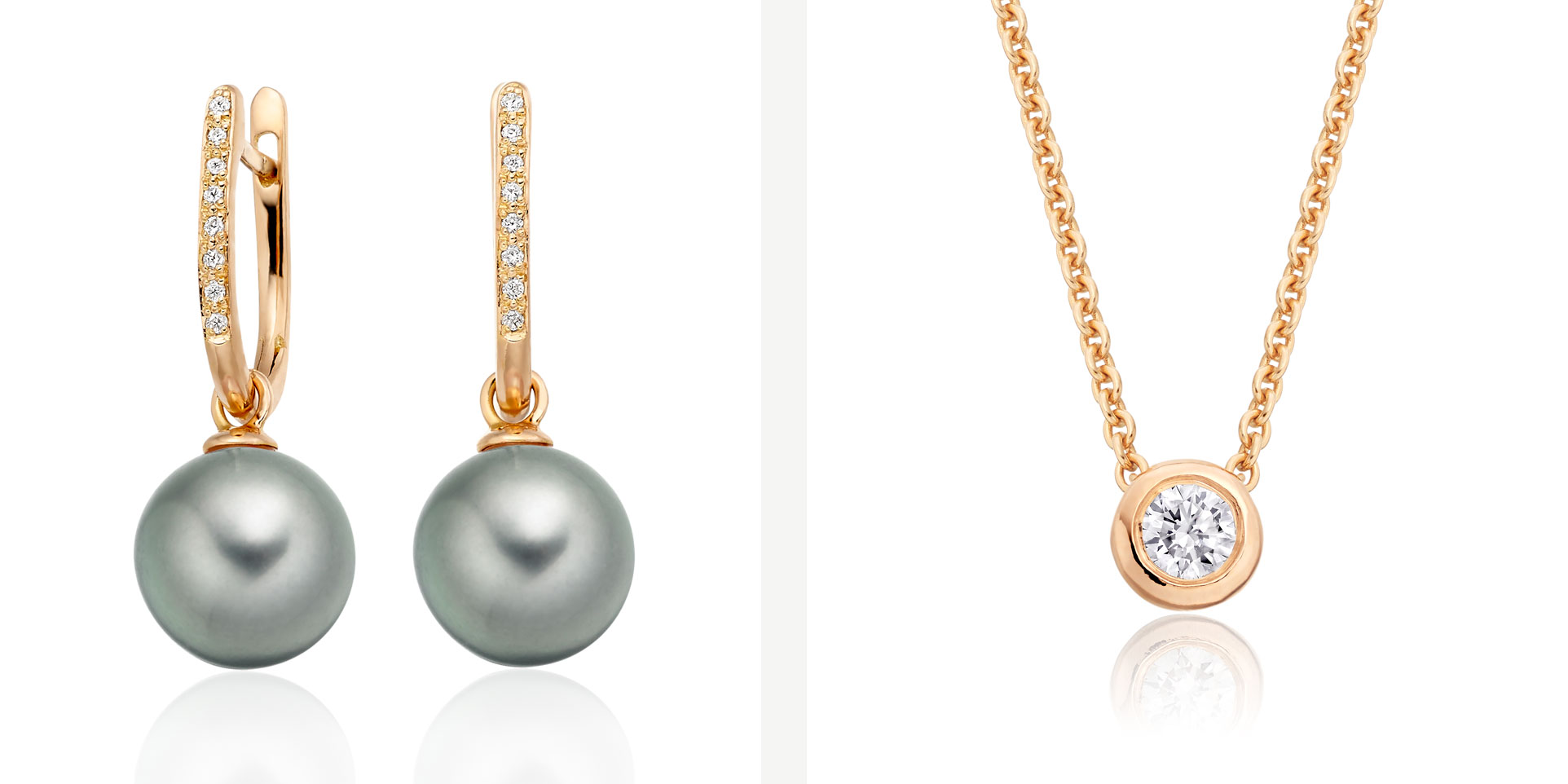 Tahitian Pearl and Diamond Leverbacks and Diamond Pendant in Rose Gold